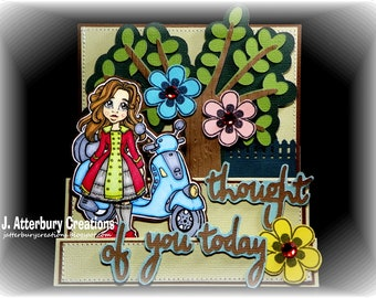 OOAK---Thought of You Flower Tree Stair Step Card + Matching Envelope Box