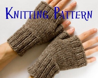Instant Download PDF Knitting Pattern - Fingerless Mittens, Fingerless Gloves, Wrist Warmers,