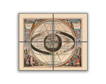 Cellarius Ptolemaic System Historic Map on 10x8.25 PopMount Ready to Hang FREE SHIPPING