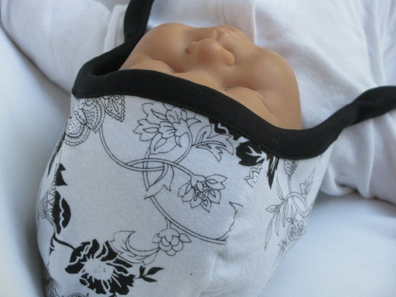 Lil Nell Pilot Cap Style Baby Hat, Black and White Floral