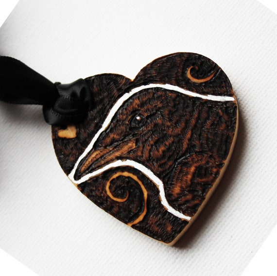 Pyrography Heart -  Crow Love Token - Unique Gift