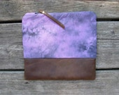 on hold: leather clutch, hand-dyed cotton, fold-over clutch, purple