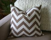 Chevron Pillow - Beige and Cream Linen Designer Fabric - Accent Pillow - Cushion