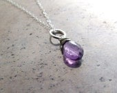 Amethyst necklace sterlin...