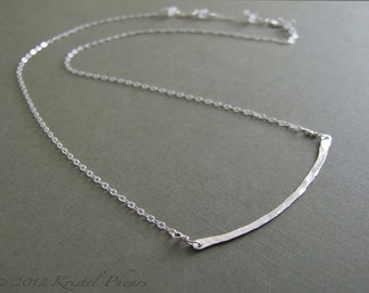 Sterling Bar Necklace - Eco-Friendly hammered bar recycled silver curved minimalist original jewelry design bridesmaid Gift