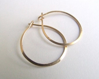 """Gold Hoops - small hoop earrings gold-filled simple classic minimalist basic lightly hammered yellow rose 3/4"""" 1"""" (18mm 20mm 24mm) bail Gift"""