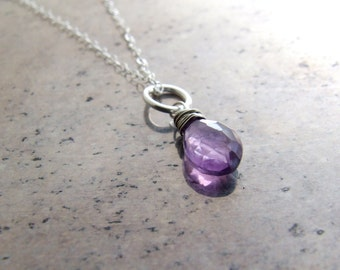 Amethyst necklace sterling silver - pendant lilac lavendar purple natural Brazil amethyst solitaire February Birthstone Gift