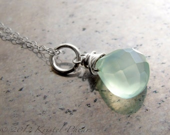 Chalcedony pendant necklace - aqua blue mint chalcedony sterling silver Add-a-Dangle bridesmaid bridal wedding friendship Gift