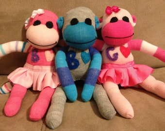 Tutu, hat, glasses, or necktie add on option for your sock monkey
