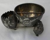 Antique Victorian Van Bergh Chicken Wish Bone Quadruple Silverplated Dish Bowl Holder Smoker's Set