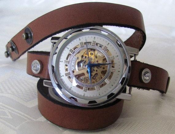 Stylish Retro Leather Band Manual-Winding Mechanical Skelton Wrist Watch. 20% Off -79 Dollars Only FREE SHIPPING
