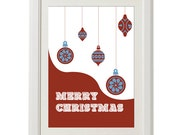 merry Christmas print, 8''x10'', free shipping, vintage design, unique design, christmas 2013, gift under 20