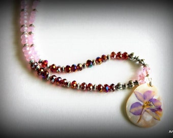 Gloria - Light pink crystal and semi precious garnet pear crystal necklace set.