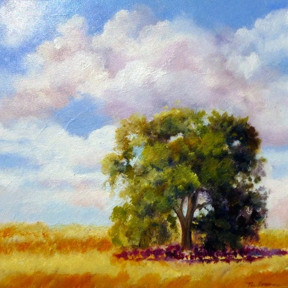 Original Oil Painting (8 x 8 inch) of  a California Oak, Golden Grasses, Soft Clouds by Tina Petersen
