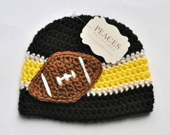 Football Beanie - Black, Yellow & White Football Hat ( newborn gift preemie hat newborn costume babyshower newborn beanie baby hats )