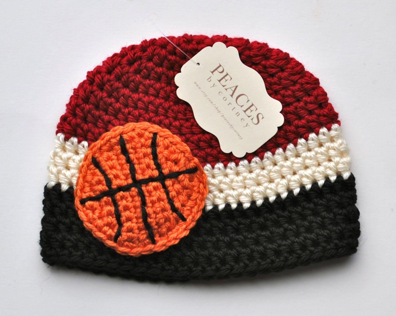 Baby Basketball Hats Dark Red White & Black Basketball