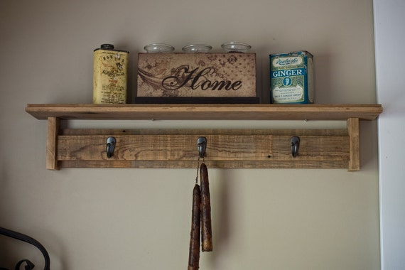 Reclaimed Barnwod shelf with Hooks