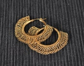 14K Gold Filled Gypsy Hoop Earrings With Lace Crochet