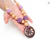 OOAK Junniper Nursing necklace/Teething necklace with wooden pendant and purple,lavender crochet beads