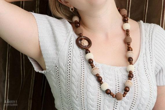 Teething necklace Nursing necklace necklace for mom juniper necklace wooden necklace beige Nursing necklace mocha and cream necklace