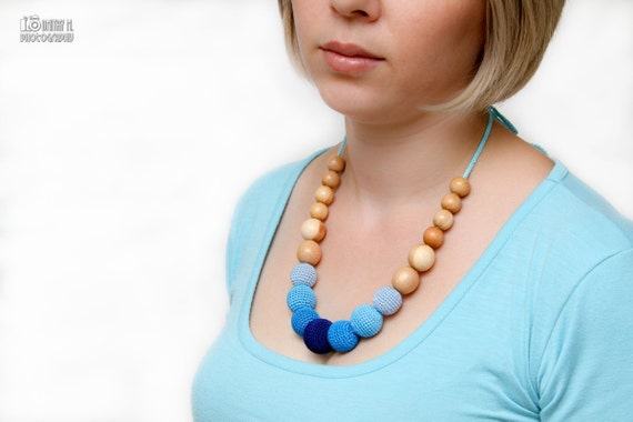 Blue and Turquoise Gradient Nursing necklace in juniper wood