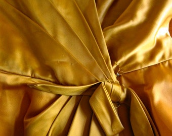 Vintage 1950s 1960s Mustard Yellow Gold Heavy Satin Party Dress Pleat Bow Back Detail Gathered Bateau Neckline