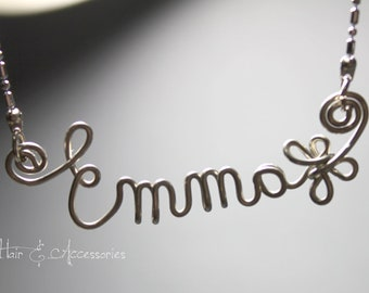Wire art/ personalised name necklace - Emma