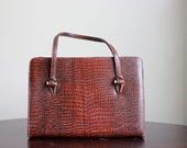 Vintage Faux Snakeskin Oxblood Purse