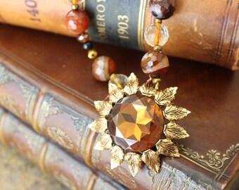 Vintage Emmons sunflower brooch necklace