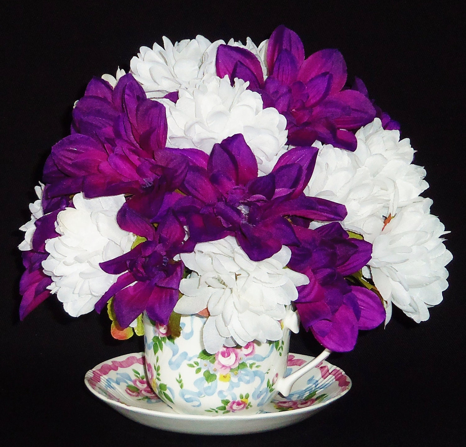 silk flower arrangement purple dahlias white mums. cup, Beautiful flower