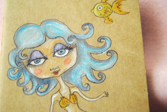 SALE Original Moleskin Journal - Blythe  Mermaid -   OOAK
