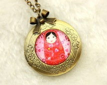 Necklace locket Russian doll matriochkas