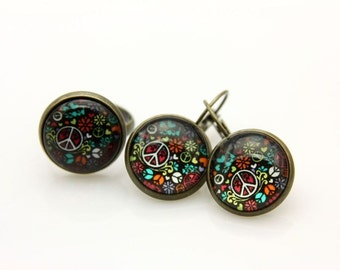SET earrings and ring peace and love