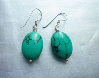 Moroccan earrings oval turquoise stone, silver.