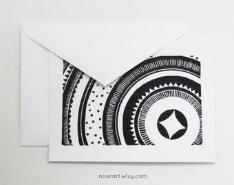 art card - MORNING STAR / blank greeting card / black & white / moon, stars