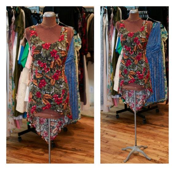 1980s High Low Hawaiian Floral Print Sundress Festival Dress with Beaded Detail