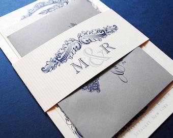 Navy Invitations, Blue and Grey Wedding Invitations, Vintage Invitation, Blue Wedding Invitations, Monogram Wedding Invitation
