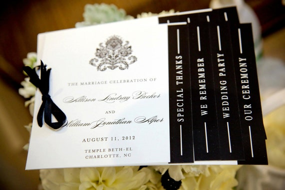 Black and White Wedding Programs - Black, White, Damask, Black Damask, Layered Wedding Ceremony Programs