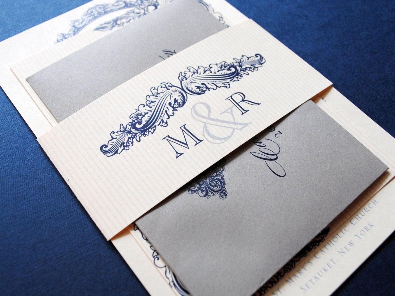 Navy Blue Wedding Invitations: Navy Invitations Blue And Grey Wedding Invitations Vintage