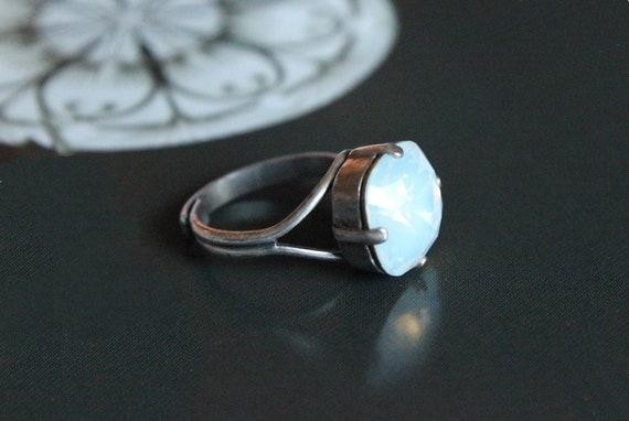Swarovski Crystal White Opal Cushion Cut Ring in Antique