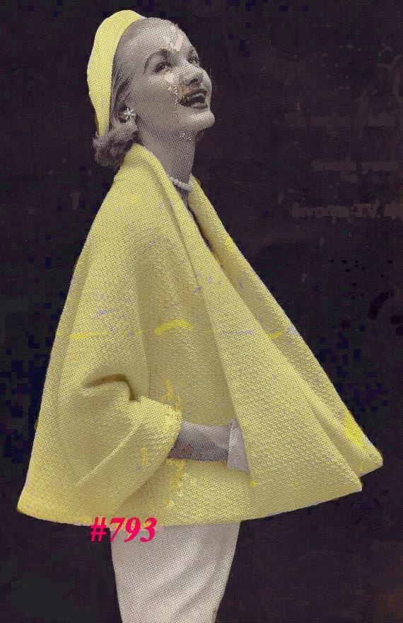 A BEST Vintage 1953 Sophisticate Coat Cape Jacket 793 PDF Digital Knit Pattern