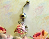 SALE--Belly Ring, Sterling Silver an Pink Tropical Salt Water Fish, Belly Button Jewelry, For Her