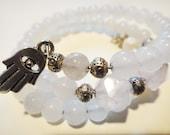 """Women's Fertility Bracelet Moonstone Rose Quartz White Jade - """"Loving Soul"""" Fertility Bracelet"""