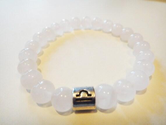 Libra womens healing crystal bracelet: Rose Quartz, Venus, jewelry, metaphysical, Buddhist, Zodiac, Astrology, new age, yoga, Zen