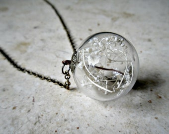 READY TO SHIP Baby's Breath Terrarium Necklace