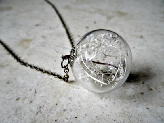 READY TO SHIP Baby's Breath Terrarium Necklace