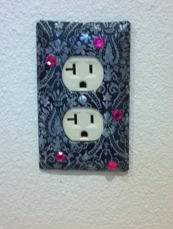 Silver and Gray Duplex Receptacle Cover with Pink Gems