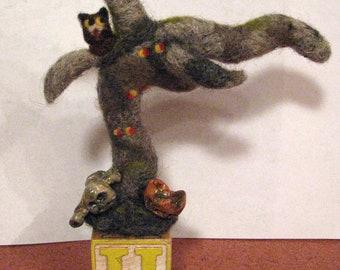 Haunted Halloween Tree, needle felted, polymer clay zombie, pumpkin, needle felted owl