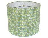 Custom Lamp Shade - Lampshade - Robert Allen at Home Brushed Basket in Capri - Blue Green Basket Weave - Fabric Lampshades -  Made to Order