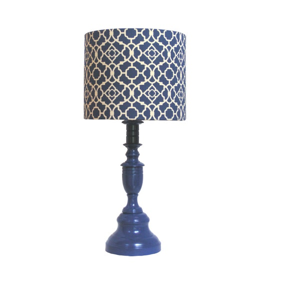Blue Lamp vintage updated handcrafted lamp shade 12 inch drum lampshade Lovely Lattice by Waverly